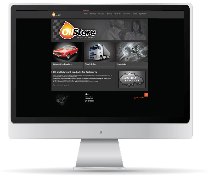 Oilstore web site designed and developed by Artful
